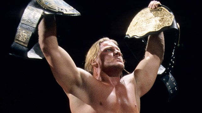 Jericho holding the WWE and WCW titles as first ever Undisputed Champion