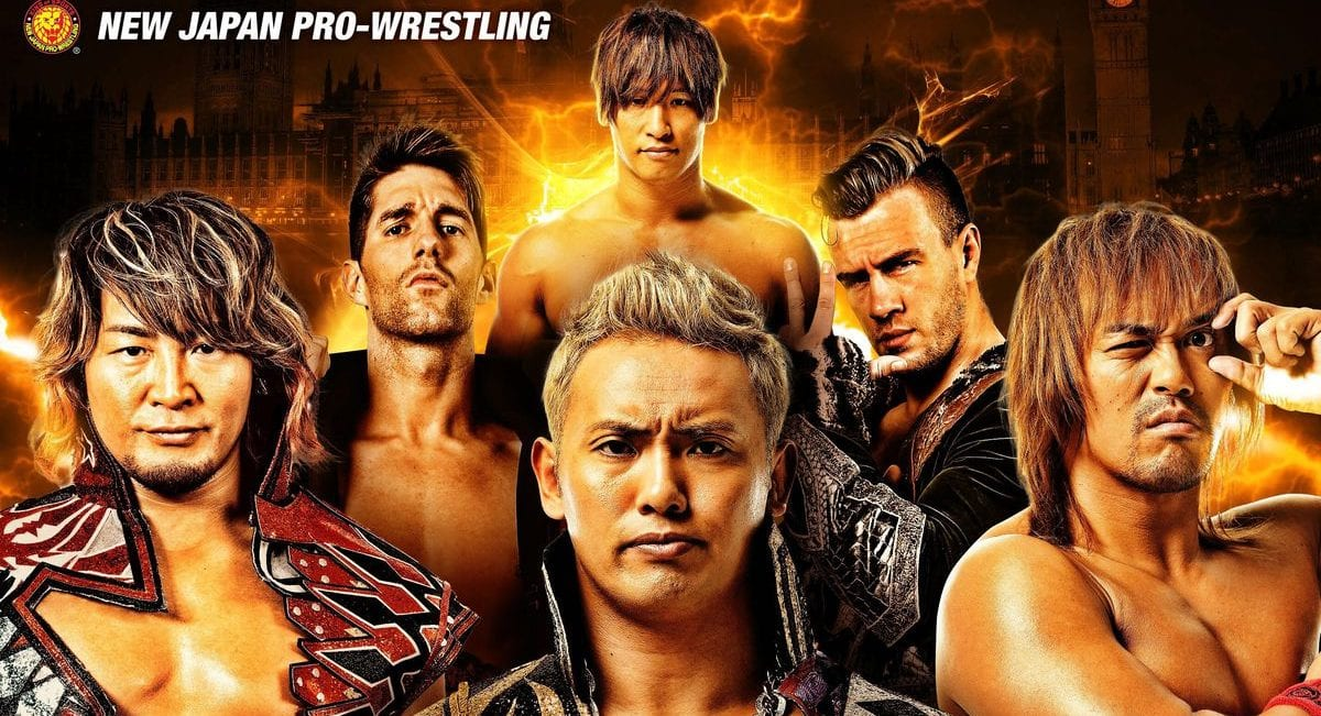 NJPW Wrestlers Zack Sabre Jr, Okada, Ibushi, Tanahashi, Naito and Will Ospreay stand in front of a flaming background