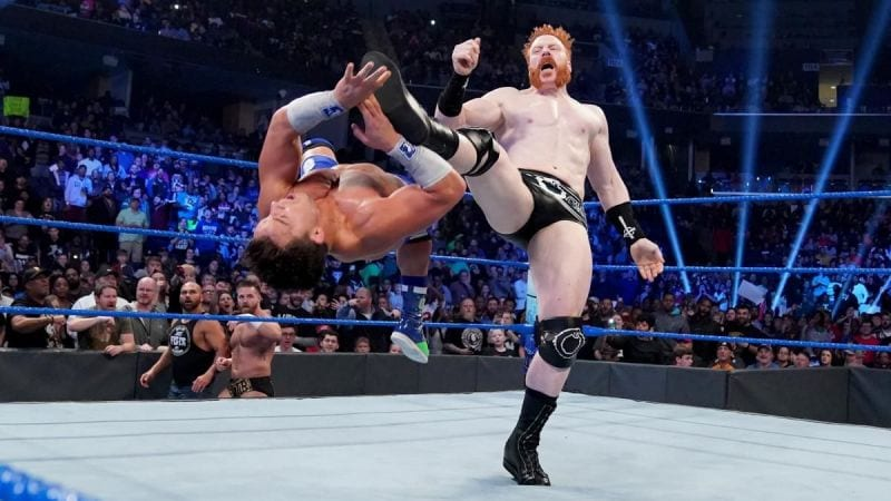 Shemaus Brouge Kicks Chad Gable out of his boots