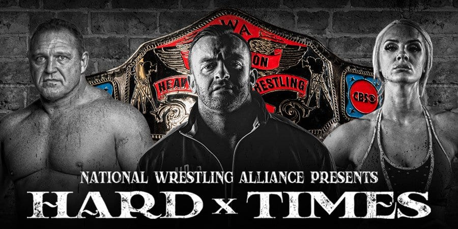 The faces of Tim Storm, Nick Aldis and Kamille superimposed in front of the NWA TV title belt