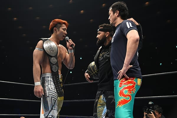 SHO addresses Rocky Romero and Taguchi in the ring