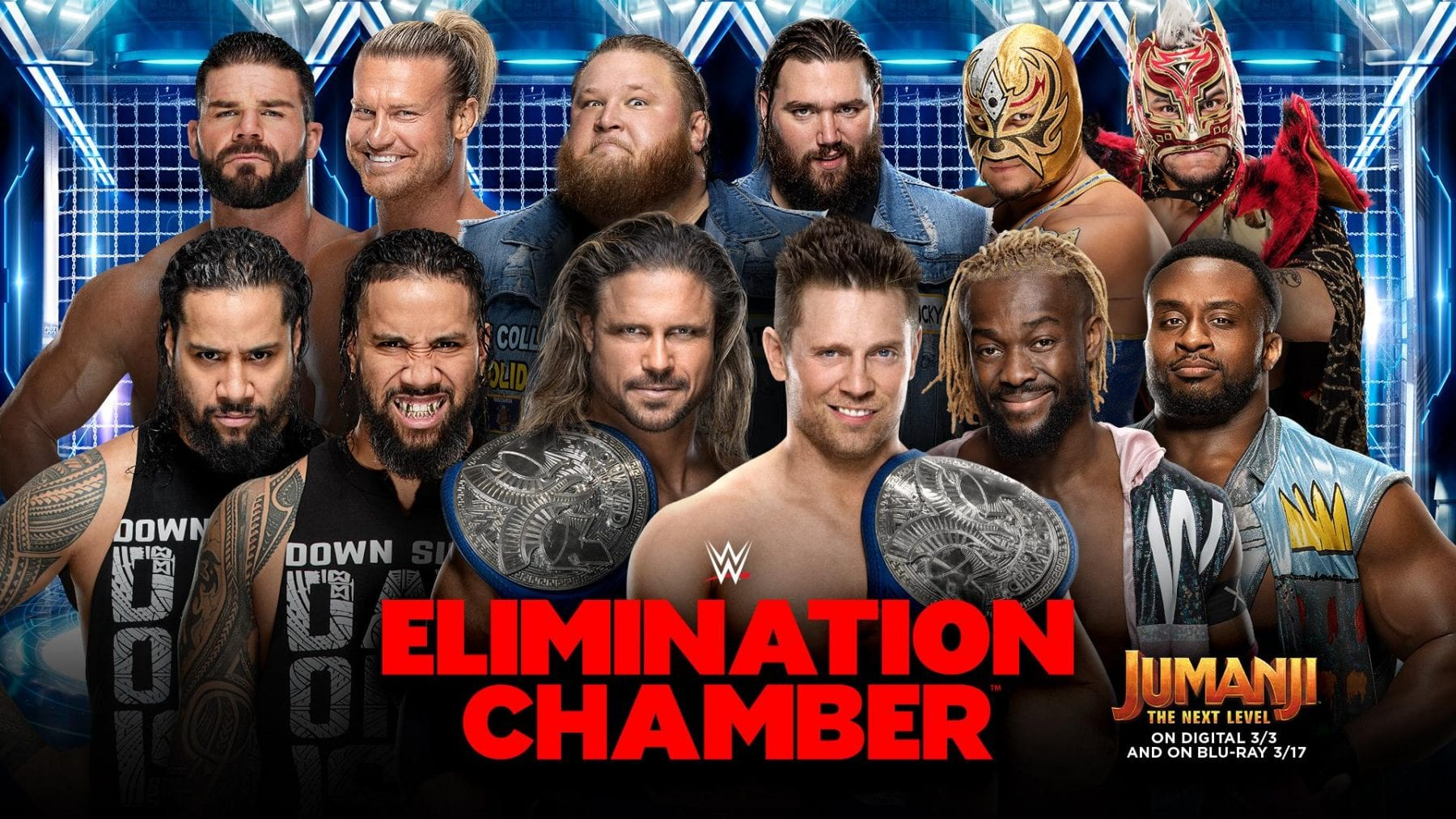Elimination Chamber Match: The Miz and John Morrison vs. The New Day vs. The Usos vs. Heavy Machinery vs. Lucha House Party vs. Dolph Ziggler and Robert Roode