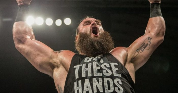 Braun Strohmann stands victorious with his arms raised