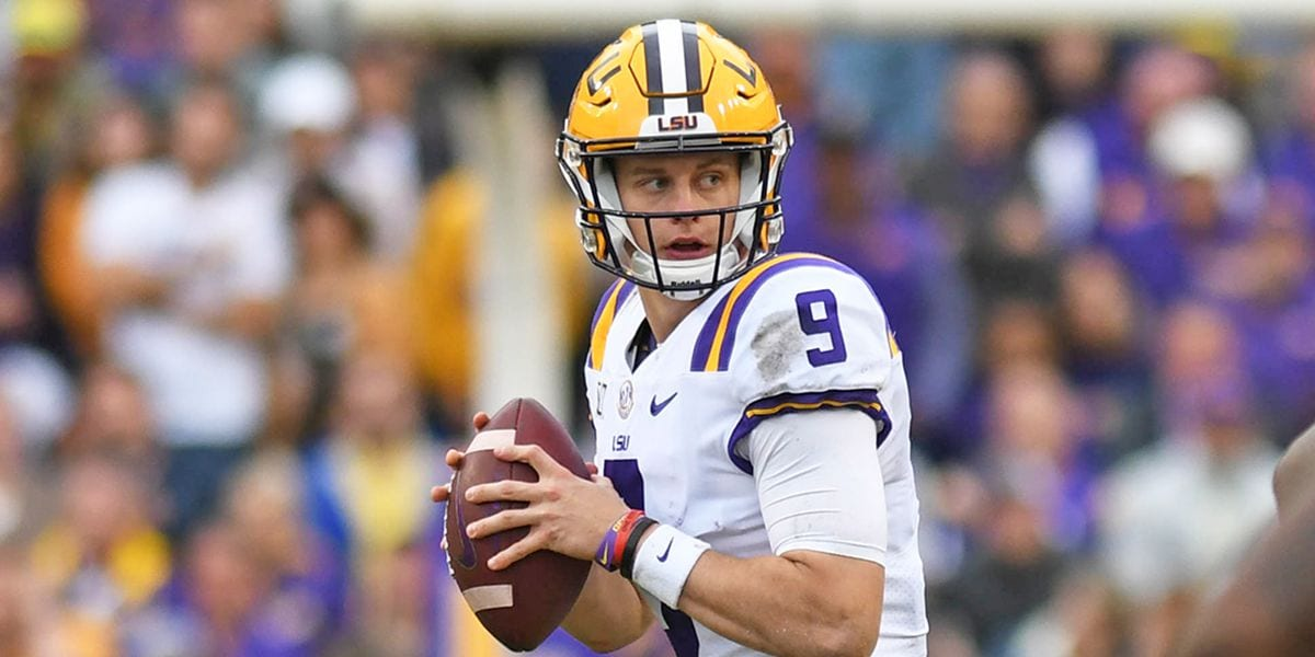 Joe Burrow drops back to pass for LSU