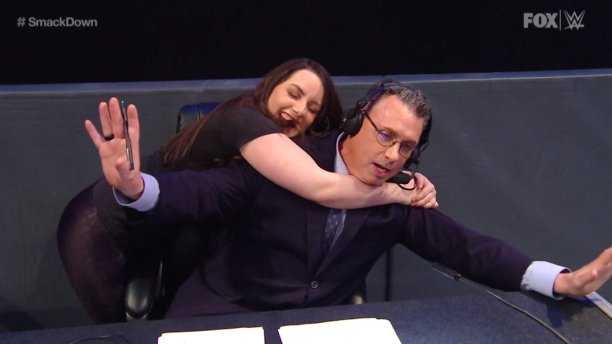 Nikki Cross joins Michael Cole on commentary