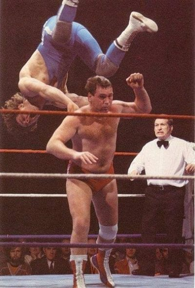 Marty Jones backdrops the Dynamite Kid