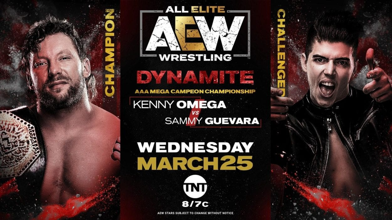 Kenny Omega vs. Sammy Guevara title card for the AAA title