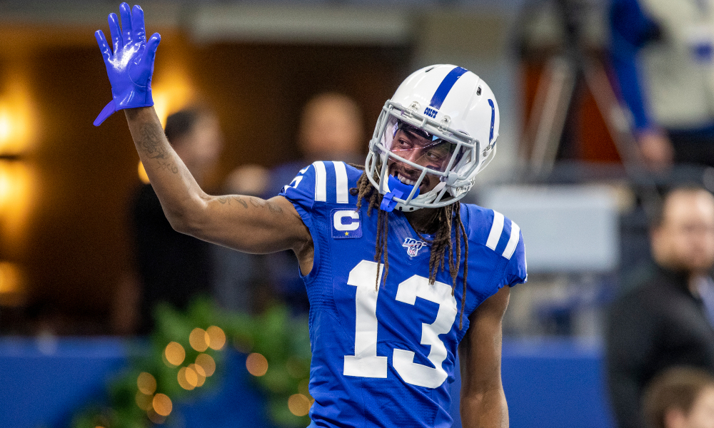 T.Y. Hilton raising his hand in to fans