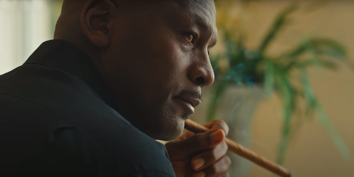 Michael Jordan smoking a cigar on set of the Last Dance