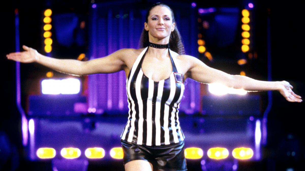Stephanie McMahon was the special guest referee in the Kurt Angle vs Triple H match.