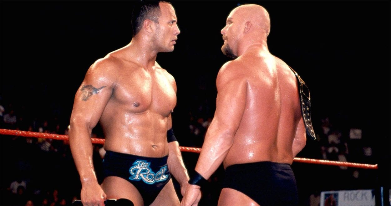 The Rock and Steve Austin stare each other out