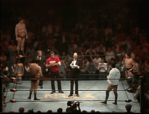 The ring announcer introduces the Briscos and Steamboat and Youngblood
