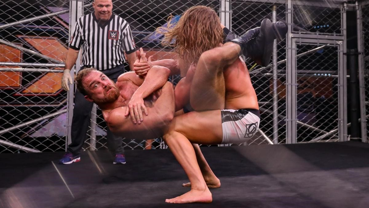 Thatcher vs Riddle in a NXT Fight Pit.