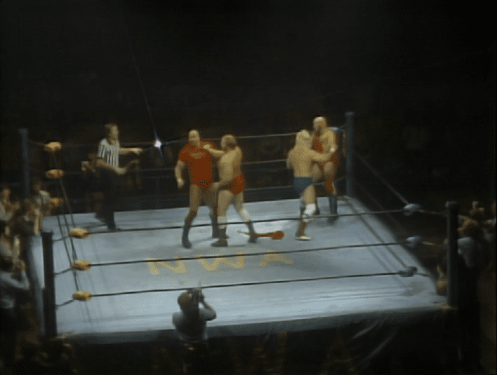 Ole Anderson and Keith Larson attack the Russians