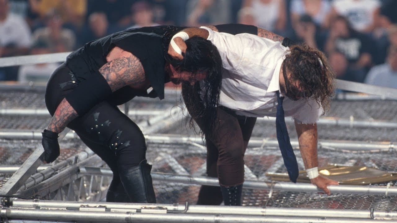 Undertaker and Mankind battle for survival on the roof of Hell in a Cell