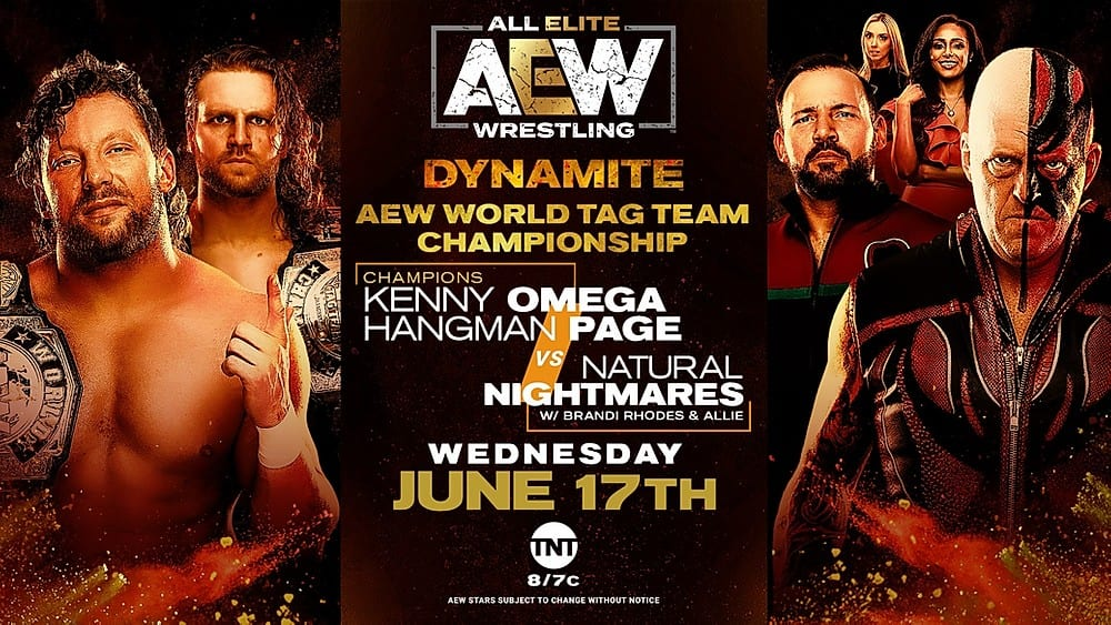 Kenny Omega and Hangman Page vs. The Natural Nightmares title card