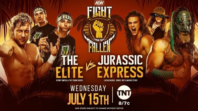 AEW Fight for the Fallen 2020 Jurassic Express vs The Young Bucks and Kenny Omega title card