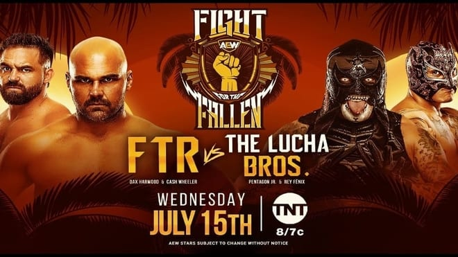 AEW Fight for the Fallen 2020 FTR vs Lucha Brothers title card