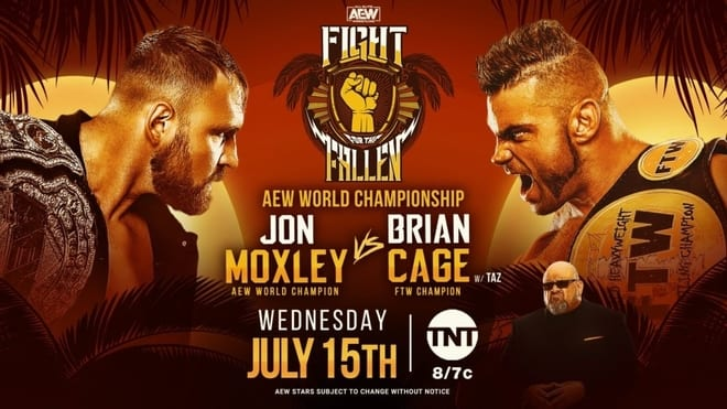 AEW Fight for the Fallen 2020 Jon Moxley vs Brian Cage title card