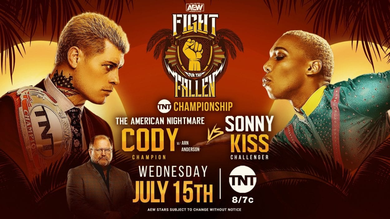 AEW Fight for the Fallen 2020 Cody vs. Sonny Kiss title card