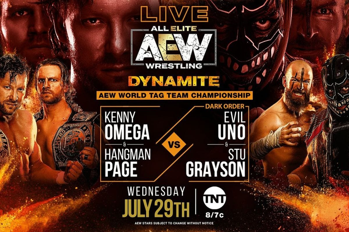 AEW Omega and Page vs. Dark Order title card