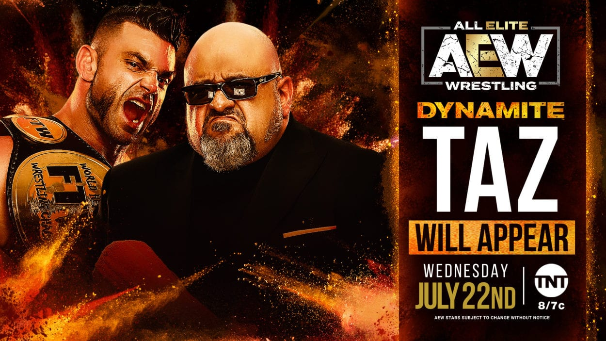 AEW Dynamite Taz and Brian Cage appearance title card