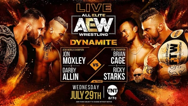 AEW Moxley and Allin vs. Starks and Cage title card
