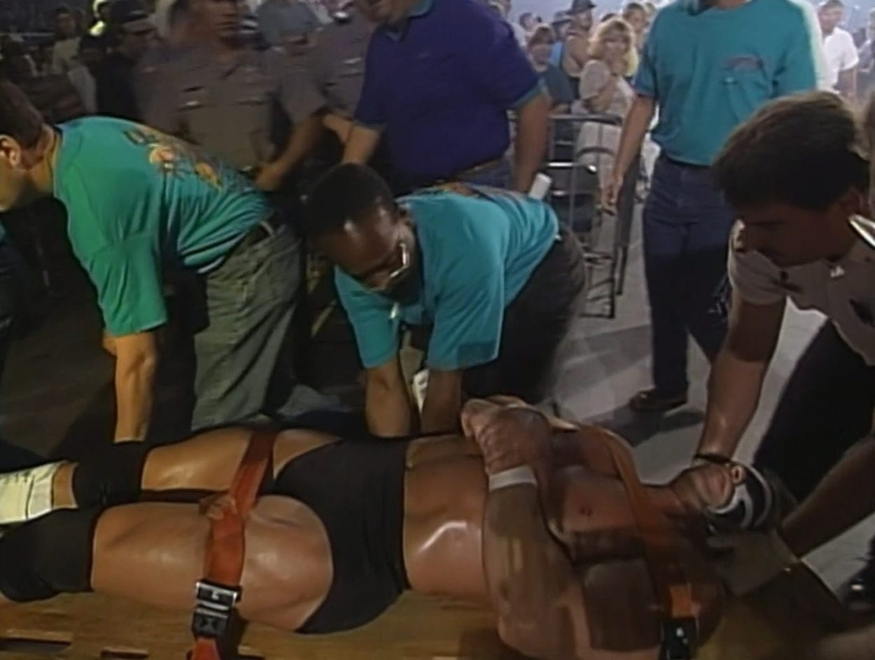 Luger stretchered out at Bash at the Beach 1996