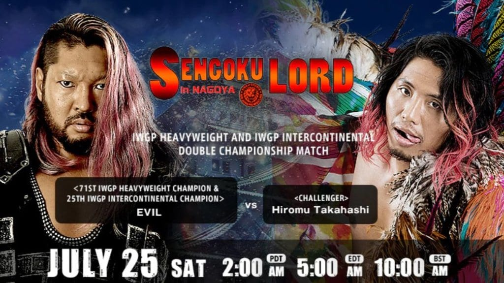 NJPW Evil vs. Takahashi title card - Sengoku Lord