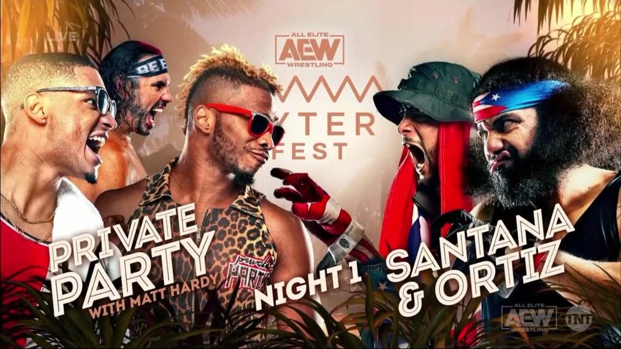 Private Party vs. Proud and Powerful - AEW Fyter Fest title card