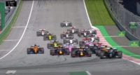 Cars clustered together at the start of the race