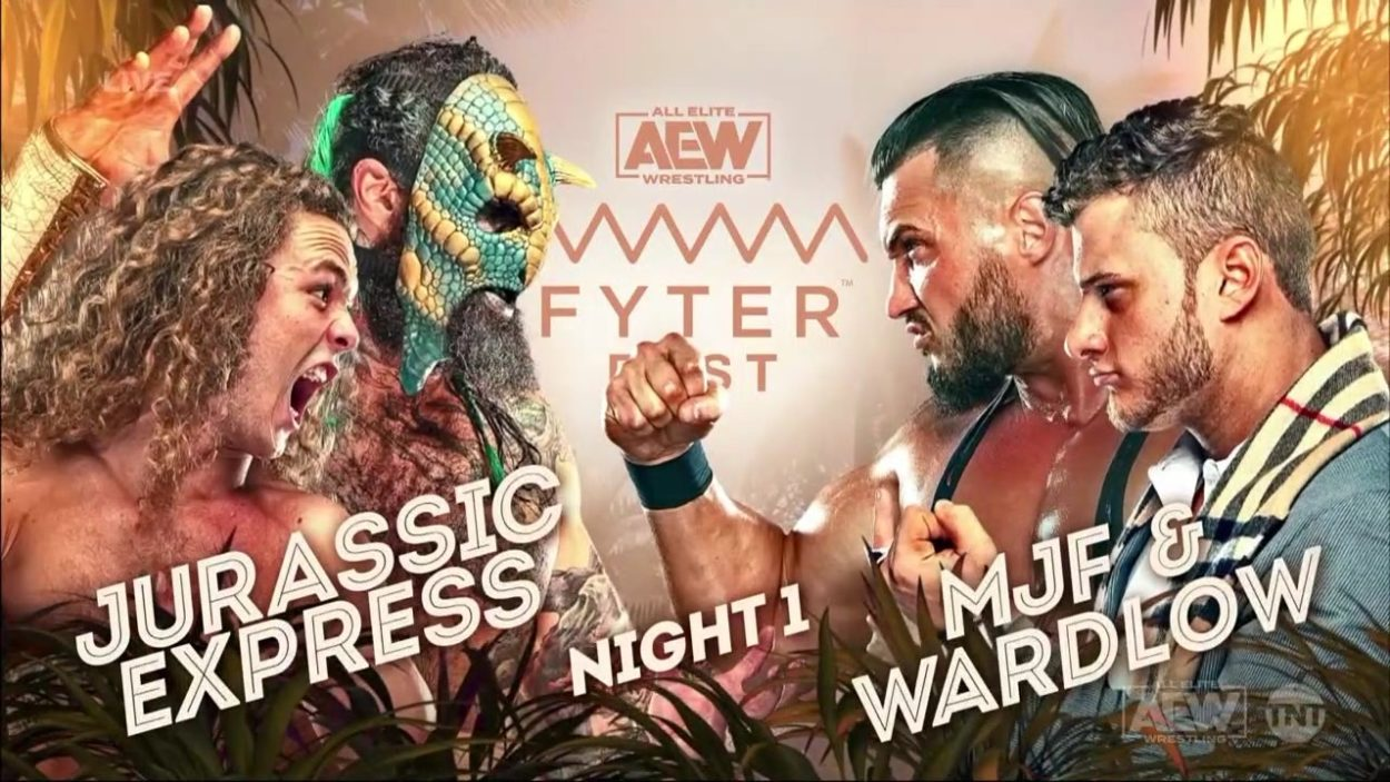 Jurassic Express vs. MJF and Wardlow - AEW Fyter Fest title card