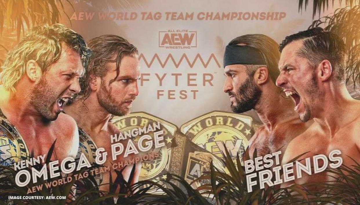 Omega and Page vs. Best Friends - AEW Fyter Fest title card
