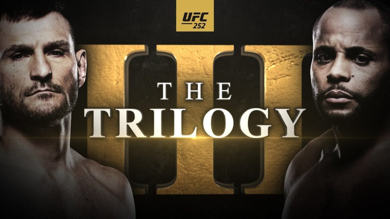 A promotional poster for Stipe Miocic and Daniel Cormier's trilogy fight.
