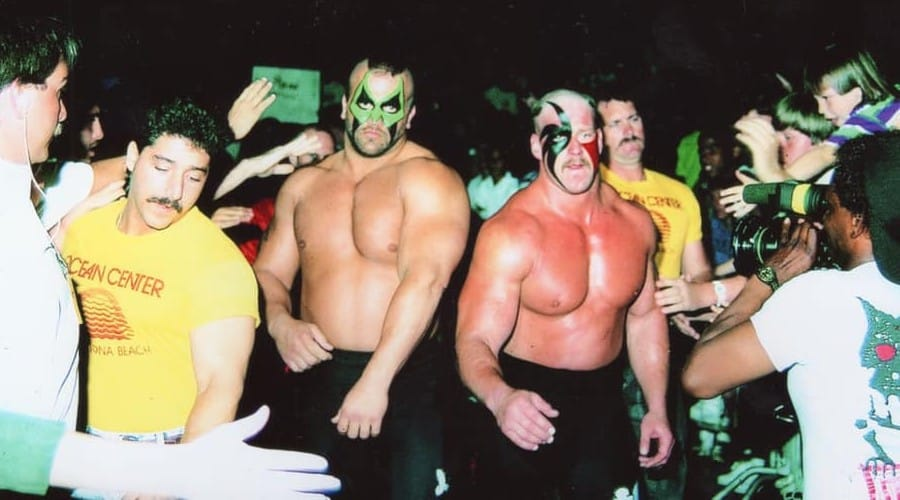 The fearsome Road Warriors make their way to the ring