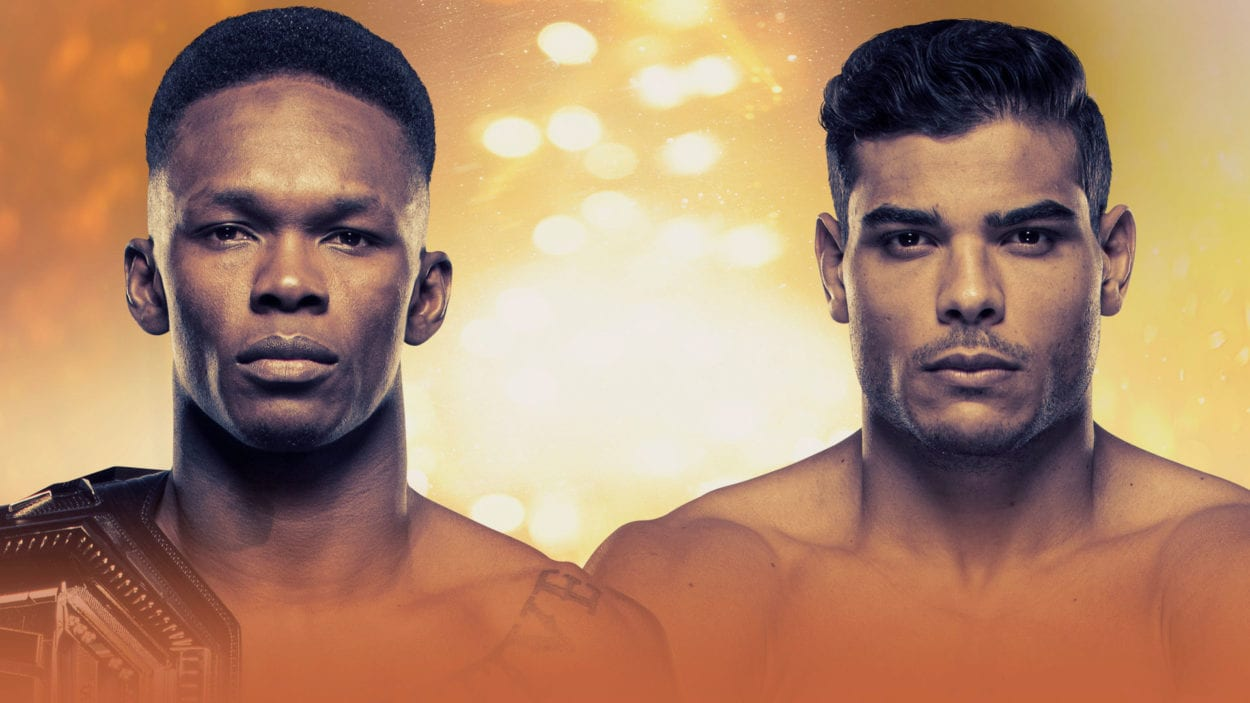 Promotional image of Israel Adesanya side by side with Paulo Costa