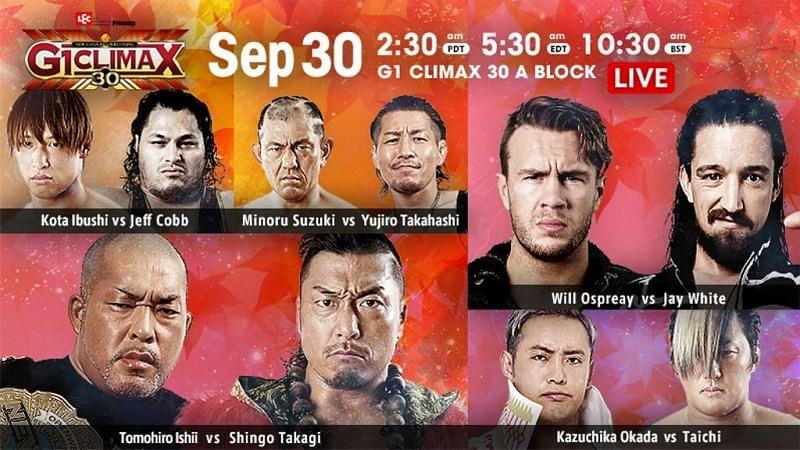 G1 Climax 30 September 30th title card