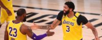 Lakers forwards Anthony Davis and LeBron James congratulate each other at mid-court