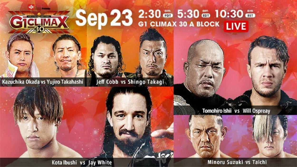 G1 Climax 30 day three title card