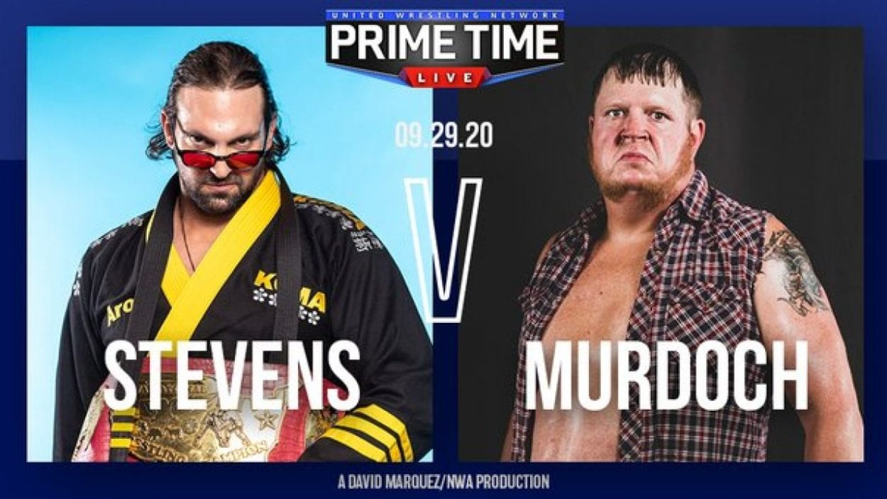 Aron Stevens vs Trevor Murdoch title card for Prime Time Live