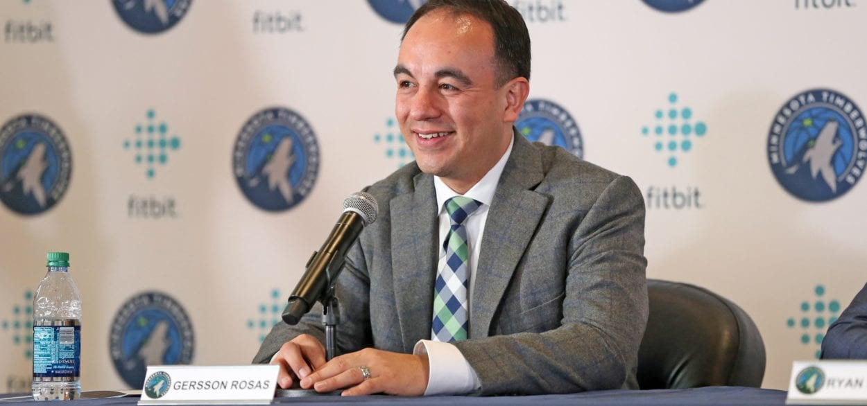 Gersson Rosas fields questions at a press conference for the Minnesota Timberwolves