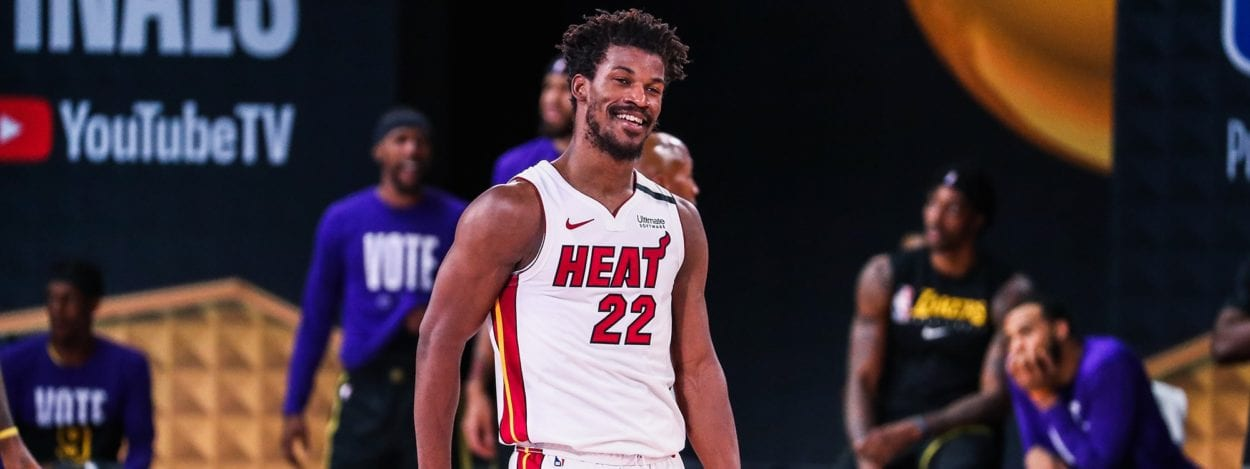 Jimmy Butler smiles as the Heat defeat the Lakers in Game 5 of the NBA Finals