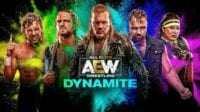AEW Dynamite promo pic featuring Kenny Omega, Hangman Adam Page, Chris Jericho, Jon Moxley and Nyla Rose