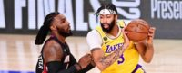 Anthony Davis of the Los Angeles Lakers catches the ball in the post against the Miami Heat's Jae Crowder
