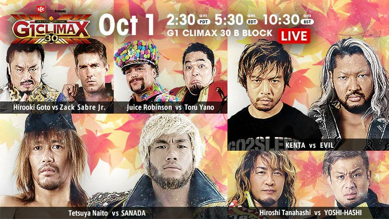 G1 Climax 30 October 1st title card, featuring KENTA vs EVIL