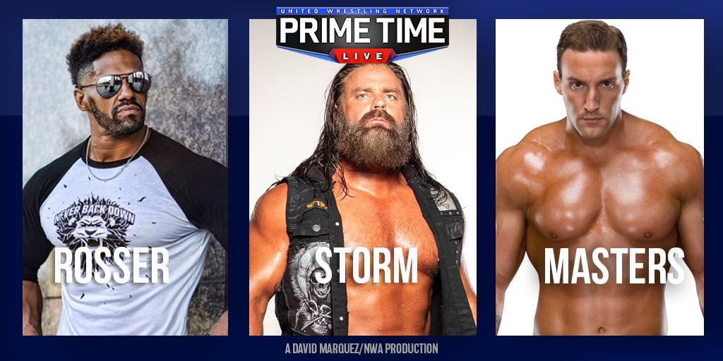 Prime Time Live - Fred Rosser vs. James Storm vs. Chris Masters title card