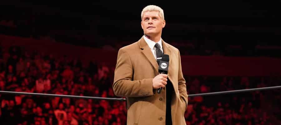 Cody Rhodes addresses the AEW fans from the ring