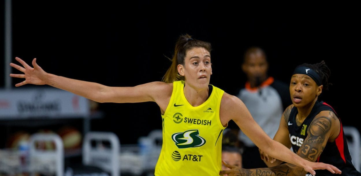 Seattle Storm forward Breanna Taylor posts up.