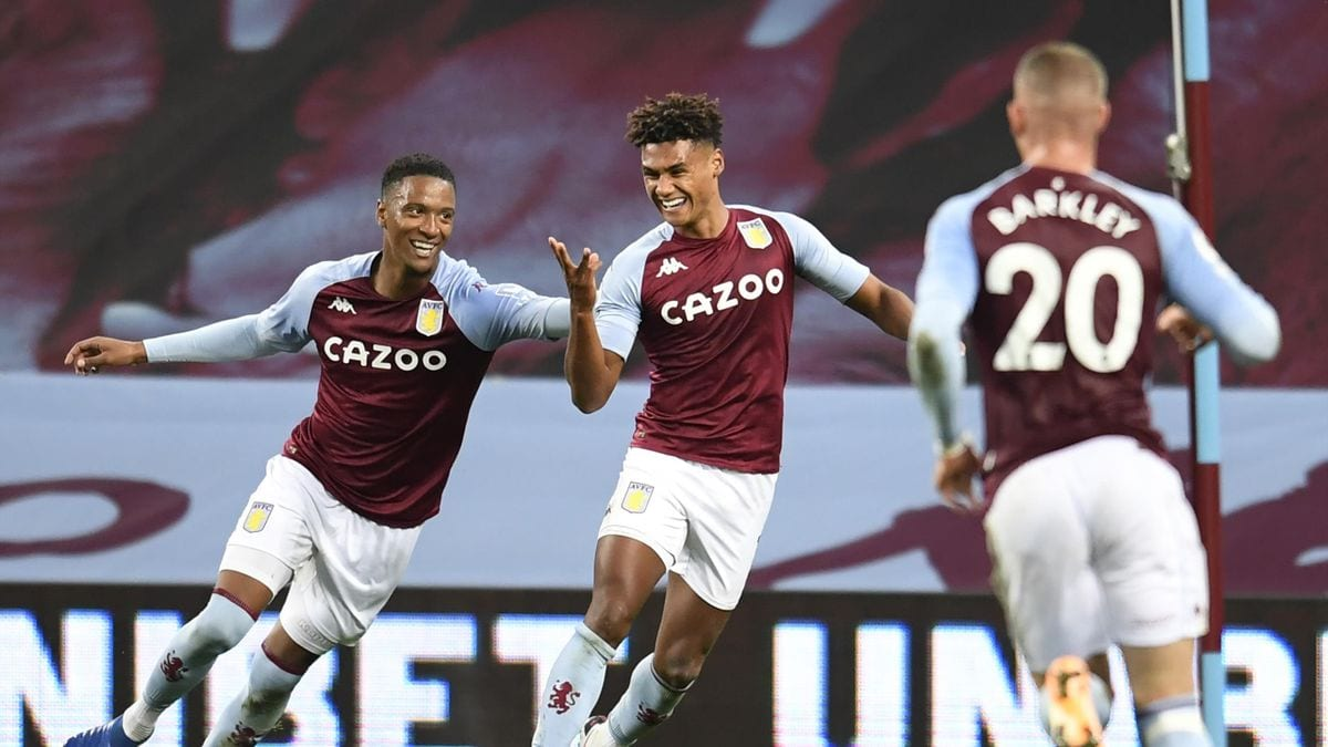 Ollie Watkins celebrates a goal in his game for Aston Villa against Liverpool