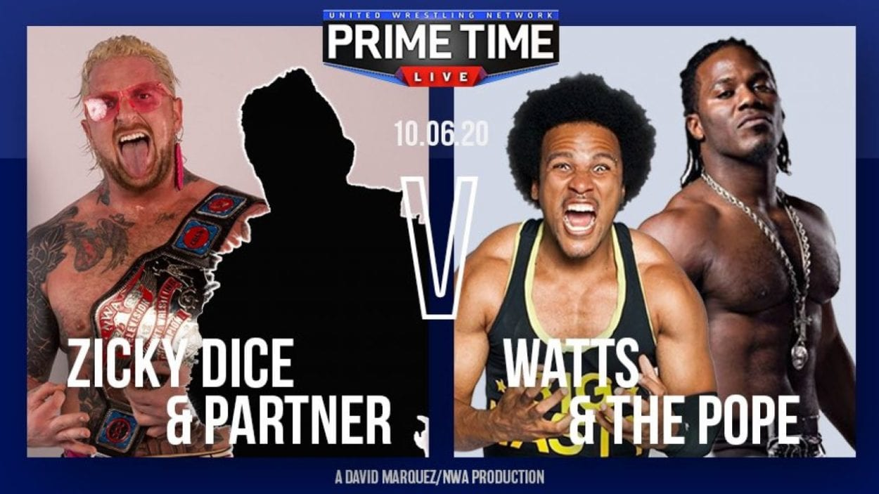 Prime Time Live Zicky Dice and Mystery Partner vs. Watts and The Pope title card